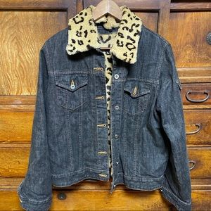 Leopard / Animal print fur lined denim jacket